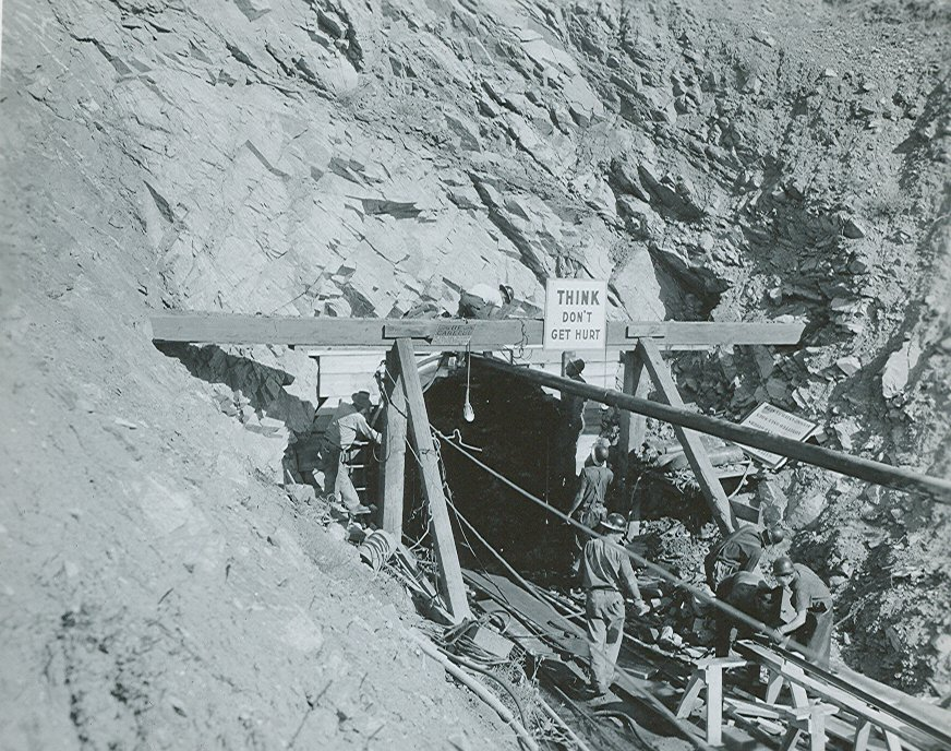 Construction of a tunnel in the mountain.