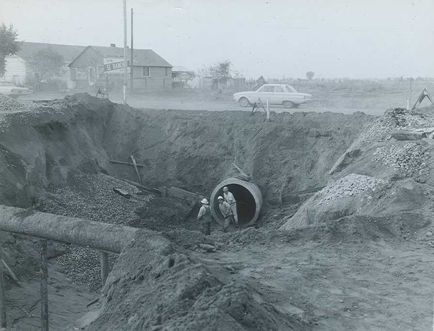 Construction of a pipeline underground.